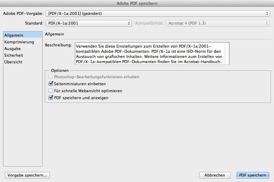 Photoshop PDF exportieren